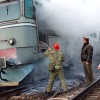 Locomotiva unui tren de călători a luat foc!